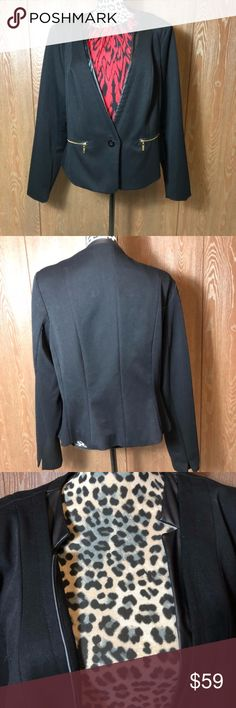 City Chic Black Blazer NWOT City Chic Black Blazer in size L. Pockets are functional. Bust is 23.5 inches when buttoned. It is 23 inches long.   💜All sales are going towards college tuition for the spring semester! I am majoring in Elementary Education and I love it! Thanks so much for helping me reach my goal of becoming a Kindergarten teacher!💙 City Chic Jackets & Coats Blazers