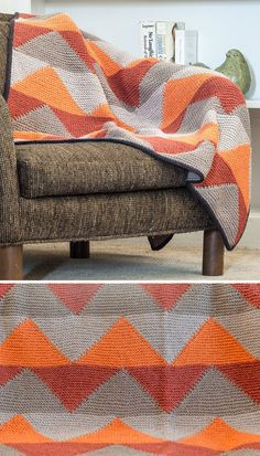 "Knitting Pattern for Zagtarsia BlanketA vibrant chevron pattern plays with color in intarsia in this fabulous knitted blanket. Designer Amy Gunderson created two sizes, so you can choose a smaller ""lapghan"" size (shown here) or a larger afghan or bedspread option."
