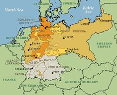 Map of German unification - North German Confederation - German Empire 1871