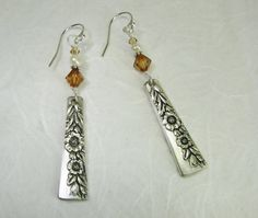 Spoon Earrings, Country Lane 1954, Copper Crystals, White Pearls