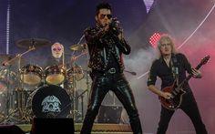 O cantor Adam Lambert e os integrantes da banda Queen, Brian May   (guitarrista) e Roger Taylor (baterista), se apresentam no Ginásio do   Ibirapuera, na zona sul de São Paulo (Foto: RAFAEL ARBEX/ESTADÃO CONTEÚDO)