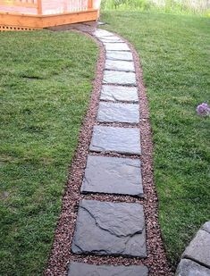 Stepping Stone Walkway Ideas Stepping Stone Pathway Ideas And A Picture I Took From Upstairs You Can Concrete Step Stepping Stone Pathway Ideas Backyard Walkway, Gravel Patio, Front Yard Landscaping, Landscaping Ideas, Patio Ideas, Mulch Landscaping, Gravel Pathway, Backyard Ideas, Pebble Walkway Pathways