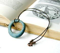 Ocean Loop Beach Necklace - Verdigris Blue - Handmade Ceramic Pottery Pendant - Ready to Ship. $34.00, via Etsy.