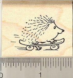 Small skateboarding hedgehog rubber stamp.