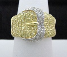 Yellow Diamond Buckle Ring 2ct Total Wide Genuine in 14K 2-Tone Gold by americanjewelryco, $900.00