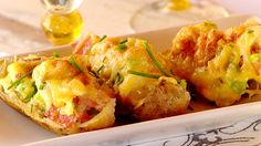 Baked Potato Skins with Mushroom, Cheese and Bacon