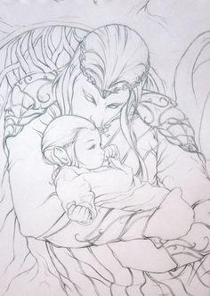 "Small Comfort by prismadragonfly.deviantart.com on @DeviantArt - Thranduil and little Legolas from ""The Hobbit"""