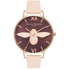 Olivia Burton Moulded Bee Watch - Nude Peach & Rose Gold (196,010 KRW) ❤ liked on Polyvore featuring jewelry, watches, nude jewelry, pink gold jewelry, bumble bee jewelry, red gold jewelry and rose gold watches