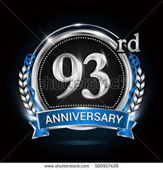 92nd silver anniversary logo with laurel wreath blue ribbon and