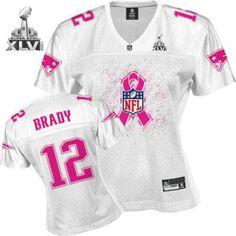 New England Patriots Tom Brady White 2011 Breast Cancer Awareness Fashion  2012 Super Bowl Jersey Broncos 137f9e463