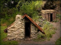Arrowtown, New Zealand. The Chinese were the first to settle along the banks of the Arrow River during the Gold Rush. We walked along the path and views many of this stone huts.