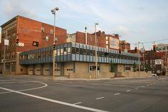 Front and side facade. Cincinnati Fire Division Headquarters by Garriott, Becker and Associates, Modernist style, Cincinnati, Ohio.