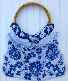INDIGO Blue Vintage Towel Bag With Unique locking by JabberDuck, $98.00