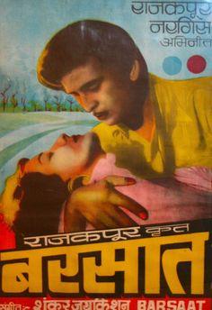 Bollywood poster   Barsaat (Rain)   Raj Kapoor and Nargis Manohar ...