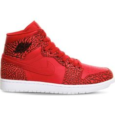 NIKE Air Jordan 1 og leather high-top trainers ($155) ❤ liked on Polyvore featuring shoes, sneakers, red white, white high tops, nike shoes, leather high tops, red sneakers and nike sneakers