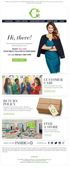 C Wonder  | welcome | WelcomeEmails | emailmarketing | email | newsletter | welcome newsletter | welcome email | WelcomeEmail | relationship emails | emailDesign