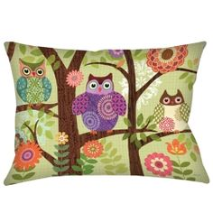 Forest Owls Outdoor Pillow