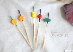 Kawaii wooden pick 100 set