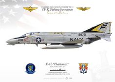 """UNITED STATES NAVYFIGHTER SQUADRON TWO ONE (VF-32) """"Fighting Swordsmen""""USS JOHN F. KENNEDY (CV 67), CARRIER AIR WING ONE (CVW 1). 1972"""