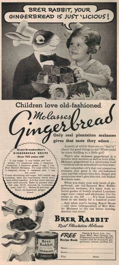 Vintage Brer Rabbit Molasses Gingerbread Recipe