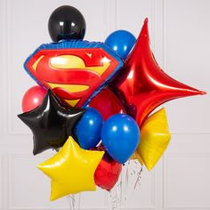Shop from our fantastic range of balloons including our Bubblegum Balloons Collection, with next day delivery. Gorgeous assorted Superhero themed balloons - perfect for the occasion! This gorgeous bouquet of balloons contains an array of different balloons in Superhero colours.