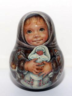 1 Kind Painting Roly Poly Nesting Matryoshka Russian Author Doll Christmas Angel | eBay