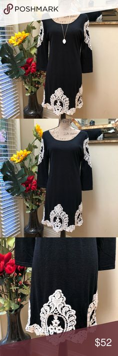 """🌺Young Threads sweater dress with crochet accents 🌺Young Threads sweater dress with crochet accents. This is a fabulous black lightweight sweater dress with thick white crochet on trend BOHO accents. Three quarter sleeves and midi length-scalloped hem. Easy for layering into fall and winter. Perfect with black booties for a hot date or an office meeting. Preloved in excellent condition. Pit to pit measurement is 18"""". Stretchy. Length is 34"""". Young Threads Dresses Midi"""