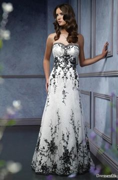 A-line Sweetheart Chapel Train White and Black Wedding Dress-dye it purple for a reception dress!