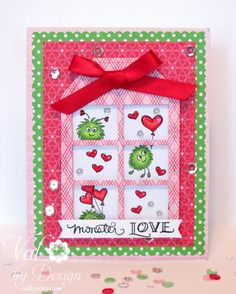 Today I have an adorable card for Valentine's Day;I'm using the newest clear stamp set from DeNami Design, called Monster Love! The tag with the windows is Pretty Pink Posh's Stitched Duo 1 Die. The frame dies are from Mama Elephant's Creative Cuts Basic Set. The images are colored with Copic Sketch Markers: Monsters:YG01, YG25, …
