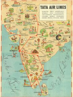 Route-map from when Air India was Tata Airlines. Source Viva La Resolucion