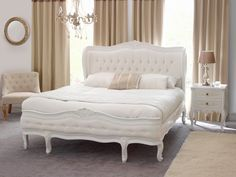 French Chateau White Super Kingsize 6ft Button Upholstered Painted Bed Furniture Market