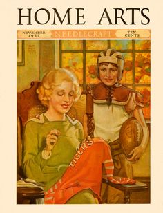 Home Arts 1935 It's November and time for football, and the boy can't wait as the best Mom in the whole world finishes sewing the lettering on his football jersey. Artist: Ralph Pallen Coleman