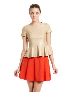 Leather Blouse With Peplum by DKNY