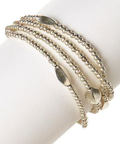 This Silvertone Ball & Leaf Bead Bali Bracelet is perfect! #zulilyfinds