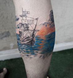 Boat with sunrise calf tattoo - 50 Amazing Calf Tattoos <3 <3