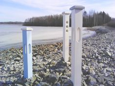 The wooden posts on the beach