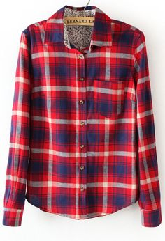 Red Long Sleeve Plaid Lining Floral Blouse - Sheinside.com