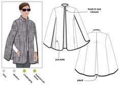 Nell Cape | StyleArc patterns.  Fashionable cape with bound edges and inseam pockets