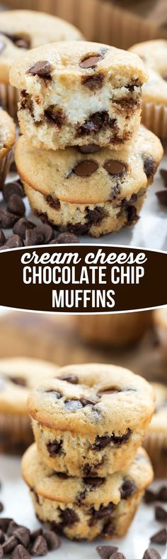 Cream Cheese filled Chocolate Chip Muffins - this easy muffin recipe is filled with chocolate chips and a sweet cream cheese surprise inside! (chocolate filling mom)