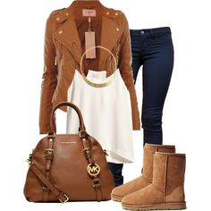 Oct. 19. 2014 by ciaolabella on Polyvore featuring H&M, Wildfox, UGG Australia, MICHAEL Michael Kors and Forever 21