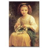 Found it at Wayfair - Young Girl Braids a Garland Crown of Flowers by William Adolphe Bouguereau Painting Print on Wrapped Canvas