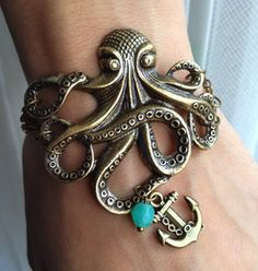 Octopus Bracelet with Anchor charm Bracelet - Antiqued Brass Vintage Style Nautical Victorian Steampunk Large Lightweight