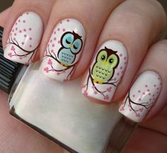 Having short nails is extremely practical. The problem is so many nail art and manicure designs that you'll find online Owl Nail Art, Owl Nails, Animal Nail Art, Pink Nails, Minion Nails, Owl Nail Designs, Cute Nails, Pretty Nails, Nails For Kids
