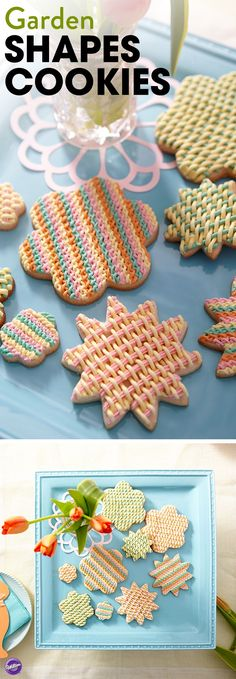 Spring shapes and on-trend colors combine with a great woven texture to make these the cookies of the season! These flower-shaped cookies are perfect for a spring tea party!