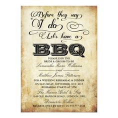 Vintage Wedding Rehearsal Dinner Before They Say I Do Lets Have A BBQ! - Vintage Card