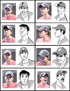 Side by side expressions of Daniel Henney while voicing Tadashi from Disney&; Side by side expressions of Daniel Henney while voicing Tadashi from Disney&;s Big Hero 6 [br] Side [br] Character Design Cartoon, Character Design References, Character Drawing, Character Design Inspiration, Character Concept, Character Development, Character Sketches, Visual Development, Character Model Sheet
