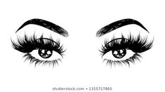 Abstract fashion illustration of the eye with creative makeup. Hand drawn vector idea for business visit cards, templates, web, salon banners,brochures. Natural eyebrows and glam eyelashes Eyelashes Drawing, Mink Eyelashes, Mode Poster, Lash Quotes, Eyelash Logo, Lashes Logo, Natural Eyebrows, Models Makeup, Makeup Eyes