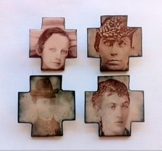 studio2b2 anne dinan (nice idea to transfer images onto ceramic cross of lost loved ones)