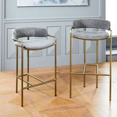 Lenox Velvet Bar + Counter Stools