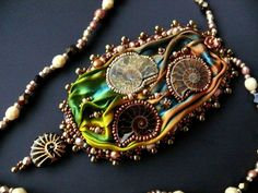 Bead embroidered Pendant Once Upon a Time in the Sea necklace Shibori silk ribbon Ammonite Beadwork EBEG EBW Team seed beaded jewelry OOAK